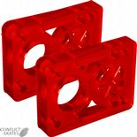 "D-STREET Skateboard 1/2"" Riser Pads Longboard Semi Clear RED PAIR"